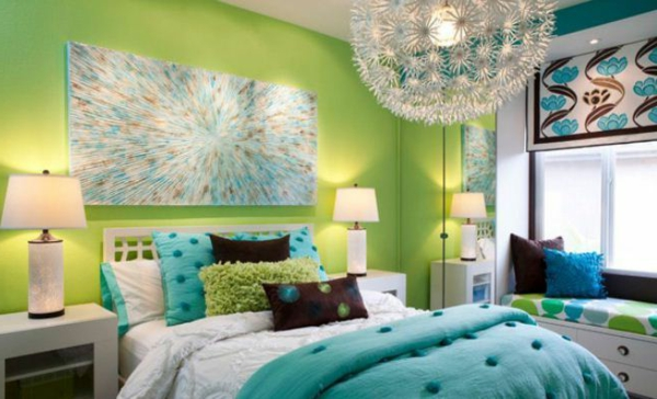 chambre-a-coucher-vert-blue-chique