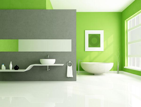 décoration-la-baignoire-en-vert-minimaliste
