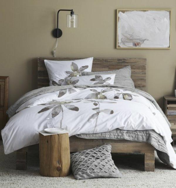 lit-de-bois-blanc-couverture-lampe-painture