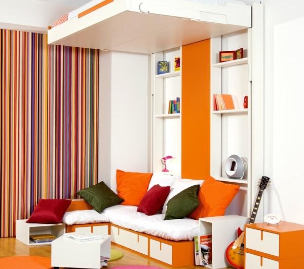 lit-escamotable-amovible-orange-planche-table-de-nuit