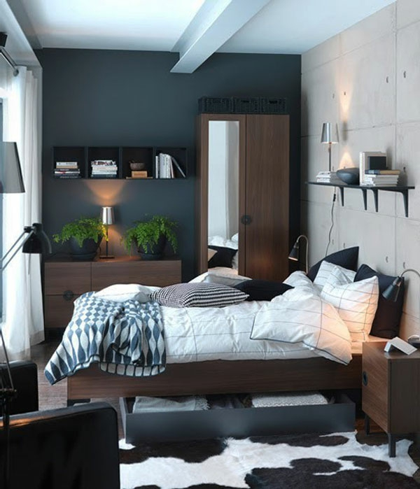 petite-chambre-a-coucher-en-bois-foncé-couverture-lampe