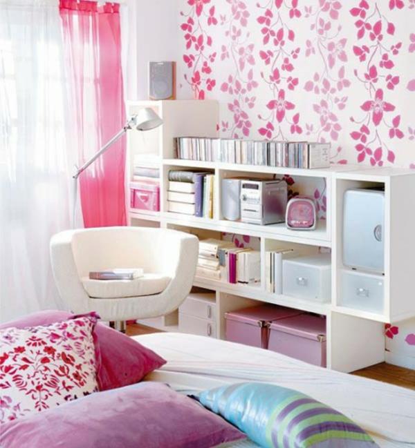 boîtes-de-rangement-ikea-rotin-déco-rose-chambre-à-coucher