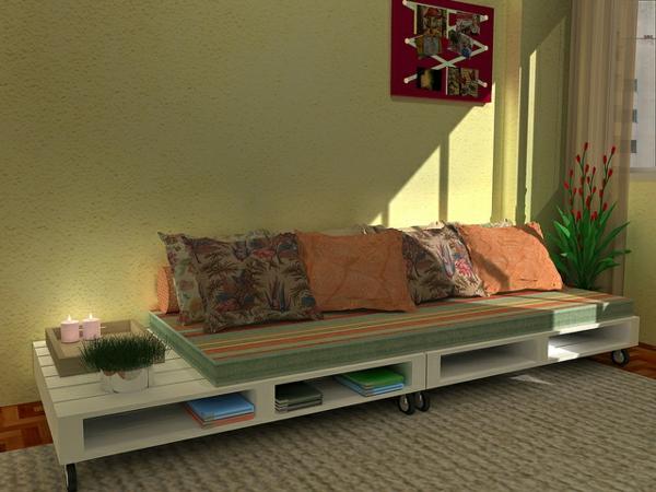canapee-en-palette-étagère-livre-coussin-design-vert-doux
