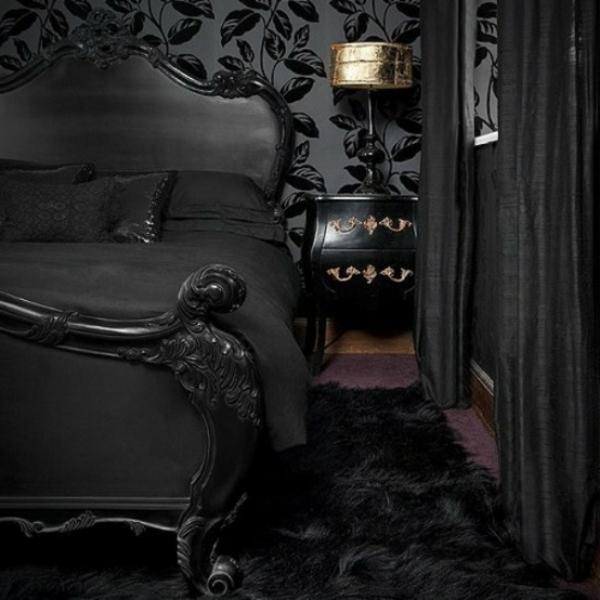 chambre-à-coucher-adulte-style-gotique-contemporain-noir-deco-or