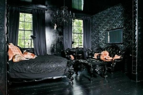 chambre-à-coucher-adulte-style-gotique-noire-sombré-coussins-ivoire