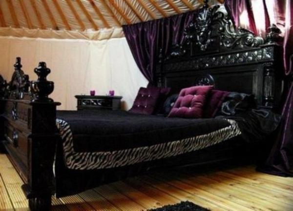 chambre-à-coucher-adulte-style-gotique-noire-violet-bois-lit