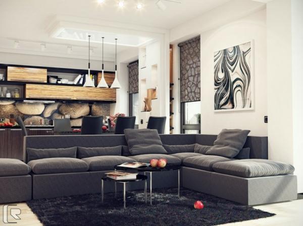 21 id es d co salon aux couleurs et mat riels naturels bois. Black Bedroom Furniture Sets. Home Design Ideas