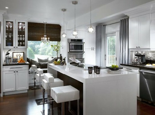 Lot central cuisine ikea et autres l 39 espace de cuisson for Cuisine blanc laque avec ilot