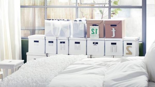 décoration-pour-le-chambre-à-cocuher-boîtes-de-rangement-blanches