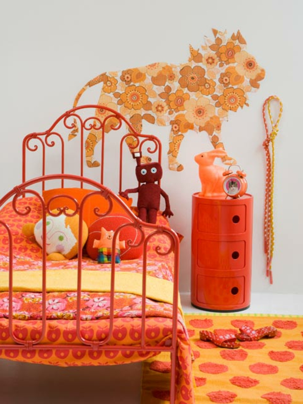 Chambre fille orange et rose id es de design pour hom for Chambre fushia orange