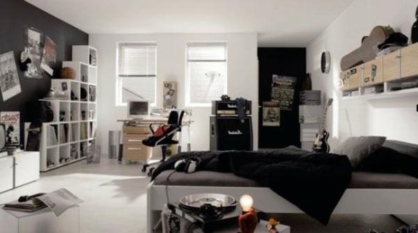 idées-déco- chambre-garçon-ado-blanc-noire-contemporain