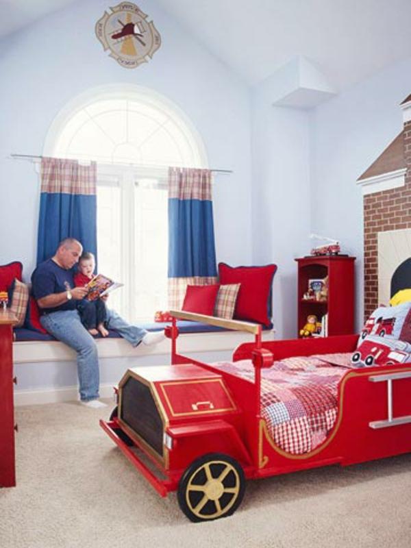 idées-déco- chambre-garçon-pompier-camion-lit-rouge