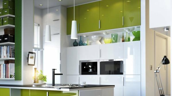 cuisine avec ilot central ikea vert