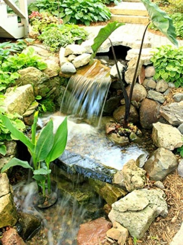 Cascade et fontaine de jardin 69 d co pour les moments de relaxe - Pierre pour deco jardin ...