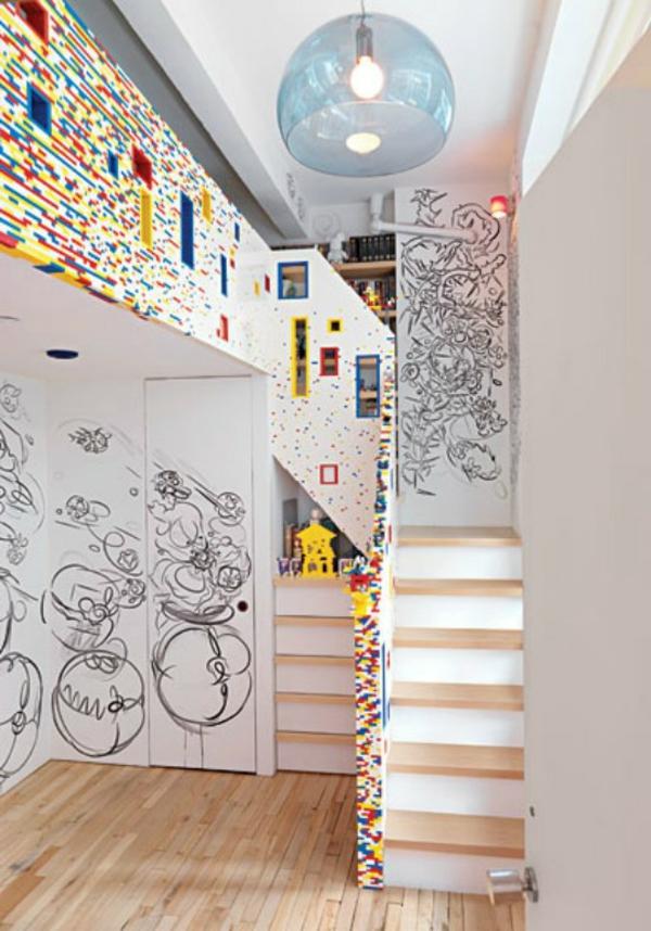 légo-inspiré-idées-déco- chambre-garçon-mezzanine
