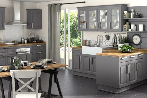 modele cuisine gris et noir avec des id es. Black Bedroom Furniture Sets. Home Design Ideas