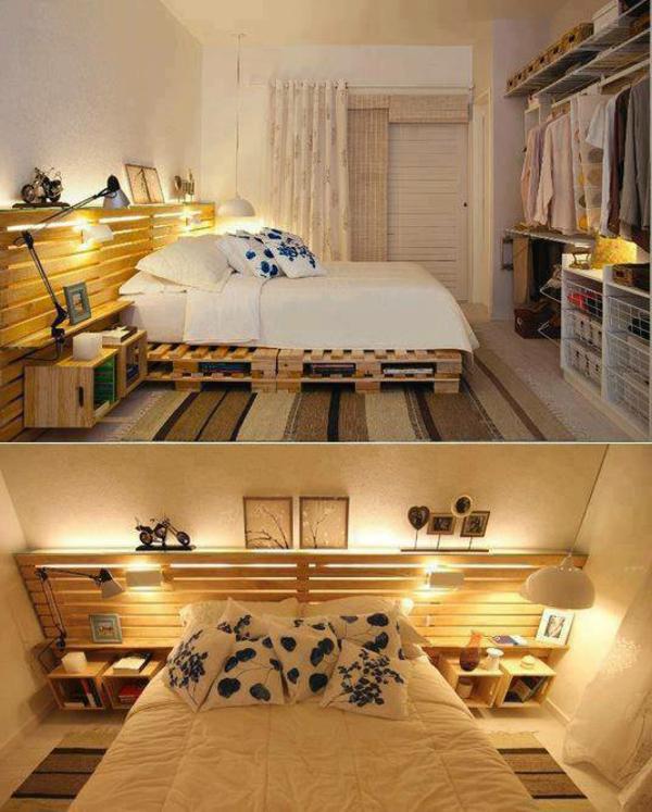Lit En Palette De Bois Avec Lumiere : R?cup palettes- 34 chambres ? coucher- la t?te de lit palette