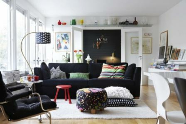 Le style d co nordique dans l 39 int rieur contemporain - Deco salon noir blanc ...