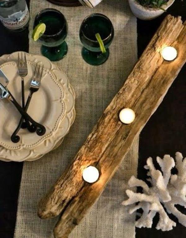 décoration-en-bois-flotté-bougie-table