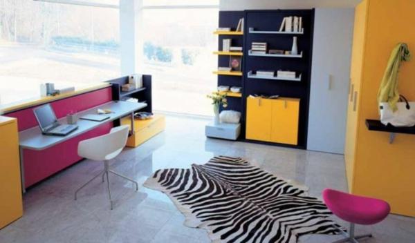 deco-chambre-ado-jaune-rose-coloré