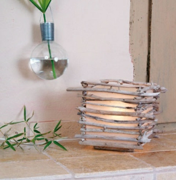 Comment faire une lampe en bois flott - Deco avec bois flotte ...