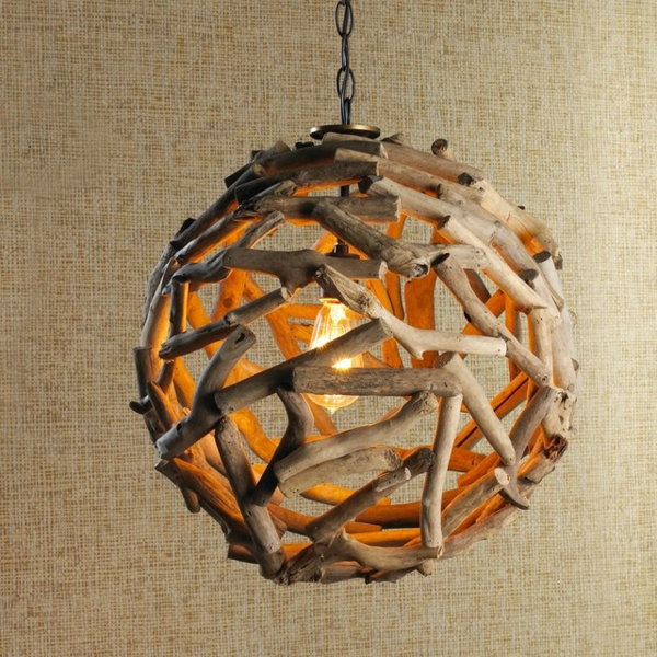 Modèle De Chambre À Coucher En Bois : La lampe ronde du bois flotté est si jolie!