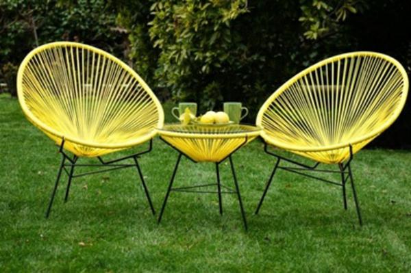 mobilier-de-jardin-jaune-chaise-métalique