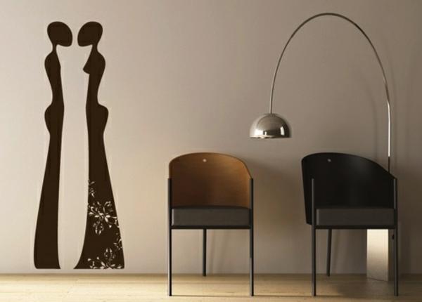 élégant-stickers-décoratifs-figure-homme-et-femme-chaise-lampe-led