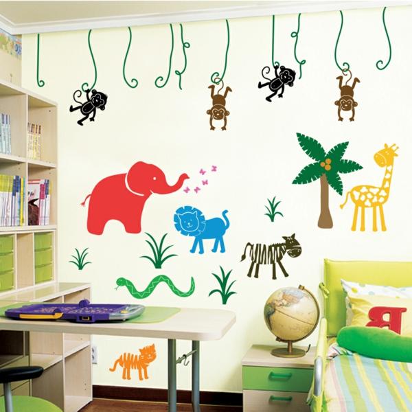 animaux-stickers-muraux-colorés-chambre-d'enfant