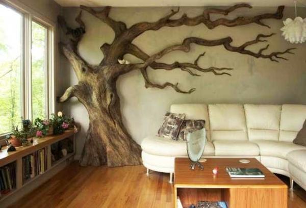 Une d coration en bois pour le mur - Salon contemporain bois ...