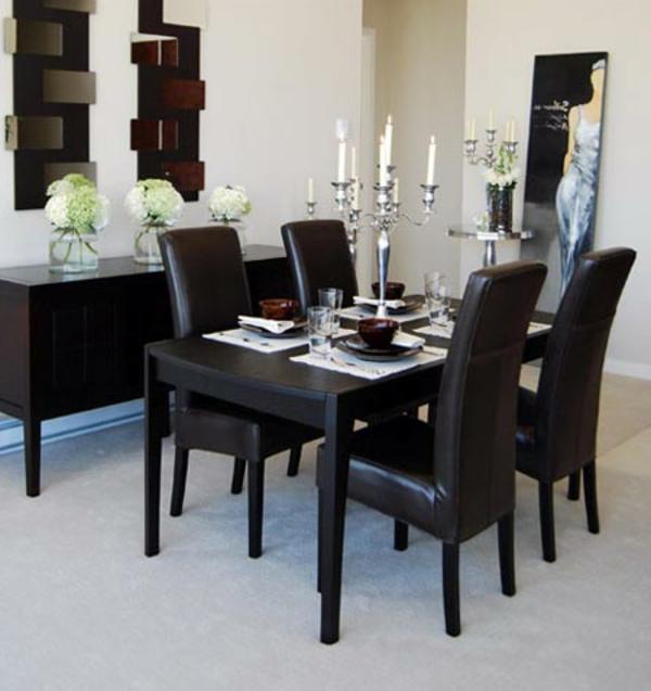chaise-noir-cuire-deco-de-table-noir-et-blanc