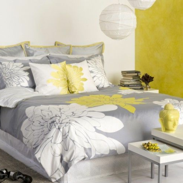 d coration chambre gris et jaune. Black Bedroom Furniture Sets. Home Design Ideas