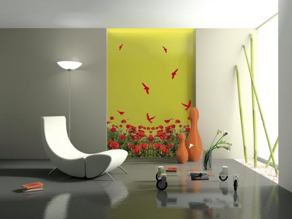 Elegant interior with stylish armchair 3D rendering