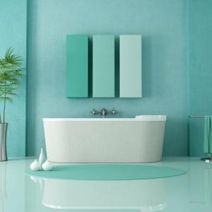 Salle de bain avec carrelage turquoise