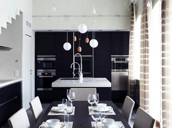 minimalisme-dans-la-cuisine-deco-de-table-noir-et-blanc