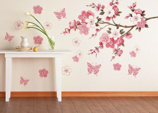 sticker-décoratifs-fleur-branches-rose-papillon