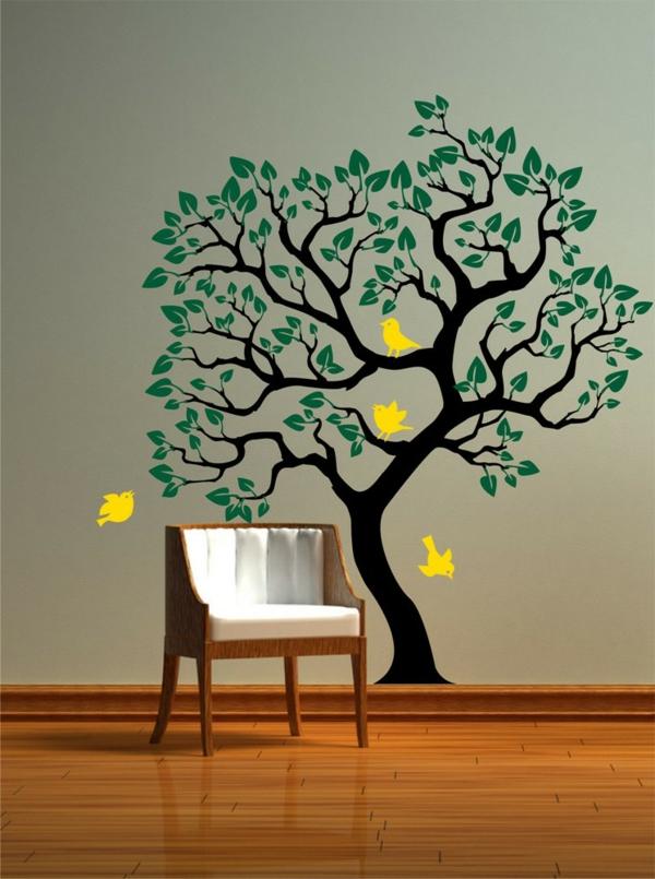 sticker-muraux-geant-vert-oiseaux-jaune