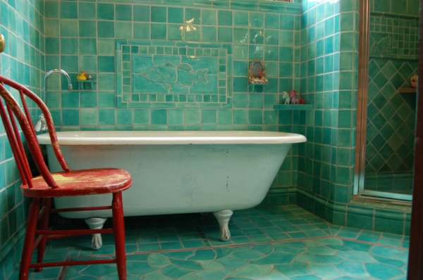 Carrelage Design carrelage turquoise : vintage-style-carrelage-turquoise-salle-debain