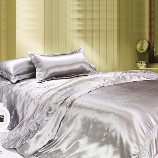 Fashion-luxury-lace-decoration-faux-silk-piece-font-b-set-b-font-bedding-solid-color-piece-resized