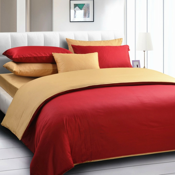 Top-grade-Solid-color-5pcs-comforter-bedding-set-king-size-red-and-yellow-duvet-cover-set-resized