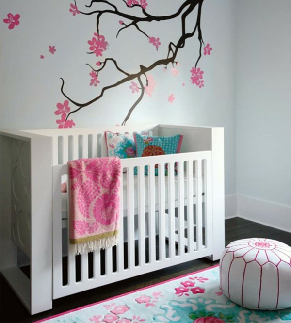 briliant-decoration-decorating-for-nursery-baby-with-tree-blossom-wall-mural-and-white-crib-also-couch-resized