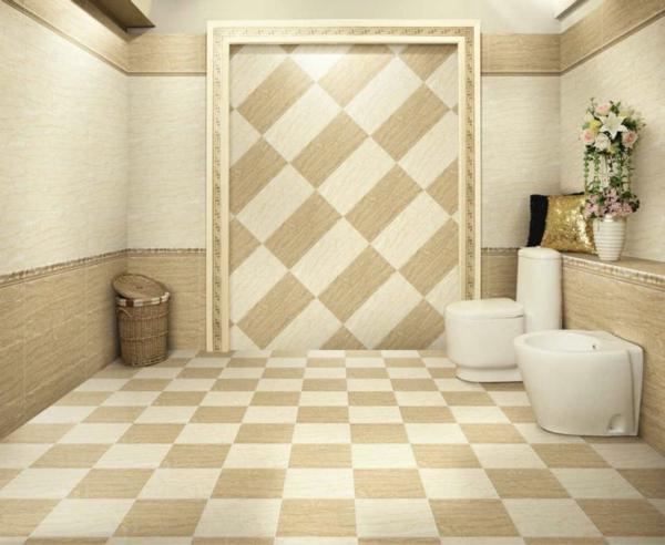 Le carrelage mural pour la salle de bain le style et la for Carrelage beige salle de bain