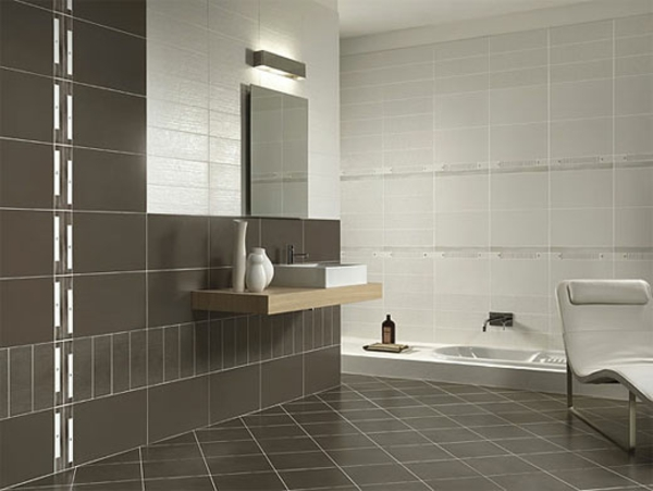 Salle de bain meuble blanc valdiz for Carrelage mural salle de bain gris et blanc