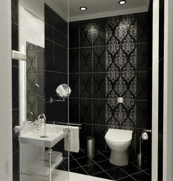 Le carrelage mural pour la salle de bain le style et la for Monochrome bathroom designs