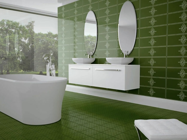 Le carrelage mural pour la salle de bain le style et la - Carrelage salle de bain vert ...
