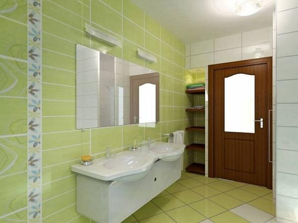carrelage-mural-pour-la-salle-de-bain-porte-de-bois-et-carrelage-vert ...