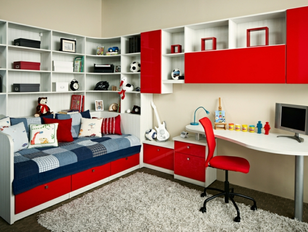 chambre ado garcon rouge. Black Bedroom Furniture Sets. Home Design Ideas