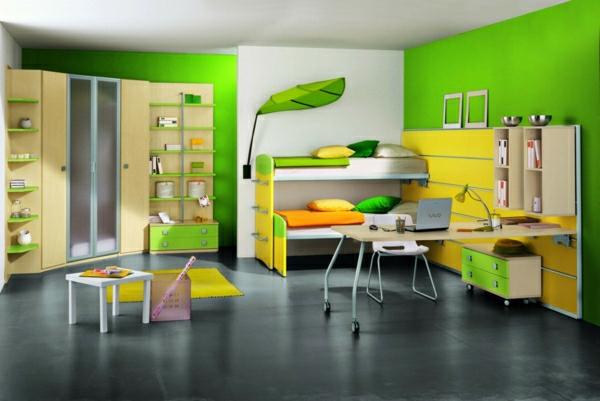 chambre-d'ado-vert-jaune-frais