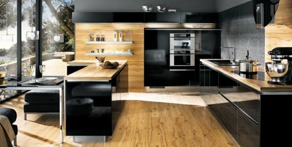 La cuisine bois et noir - c\'est le chic sobre raffiné! - Archzine.fr