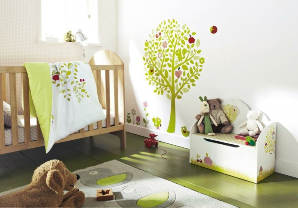 fresh-green-and-white-modern-baby-nursery-decoration-with-tree-wall-decal-plus-wooden-cradle-on-the-green-laminate-floor-resized